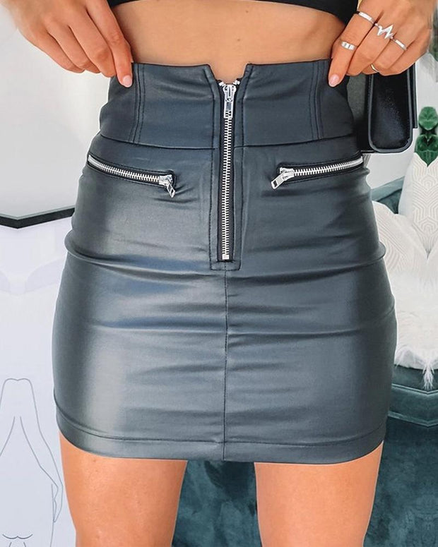 Zipper Design High Waist Mini Skirt