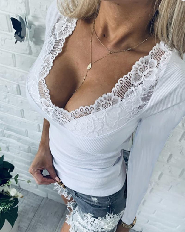 Crochet Lace Long Sleeve Blouse