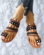 Ethnic Style Toe Ring Casual Flat Sandals