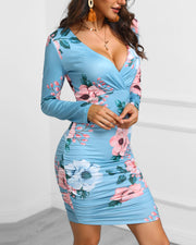 Floral Print Ruched Bodycon Dress