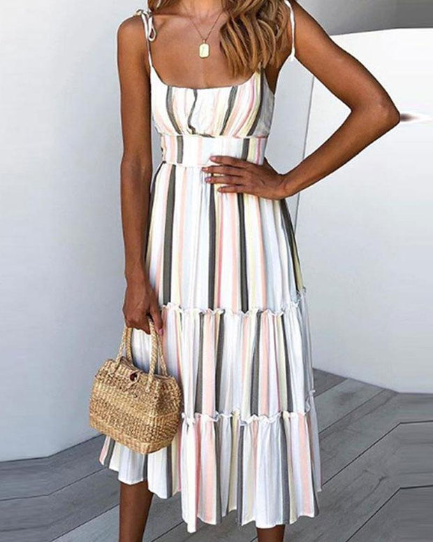 Holiday Sling Straps Bohemian Beach Printed Dress