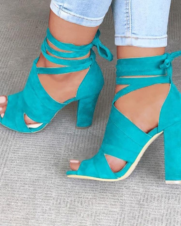 Lace Up Block Heels Sandals