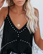 Double Spaghetti Strap Beaded Casual Tank Top