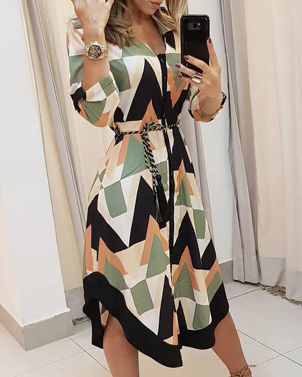 Colorblocked Geo Print Asymmetrical Casual Dress