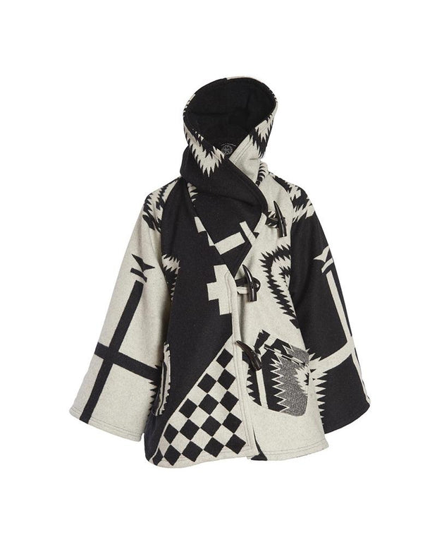 Colorblock Retro Patterns Long Sleeve Loose Coats