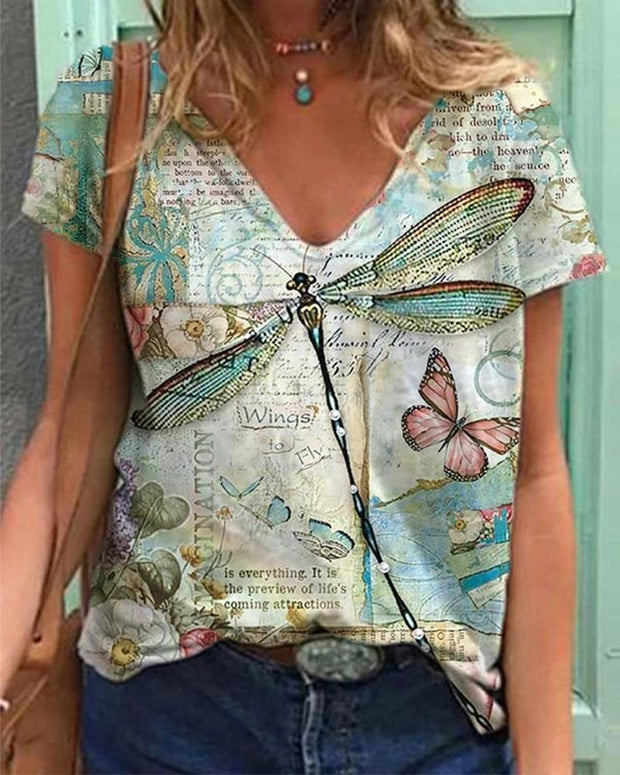Dragonfly Animal Printing Short Sleeve Blouse