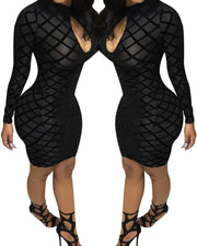 Geo Cutout Front Mesh Sleeve Bodycon Dress