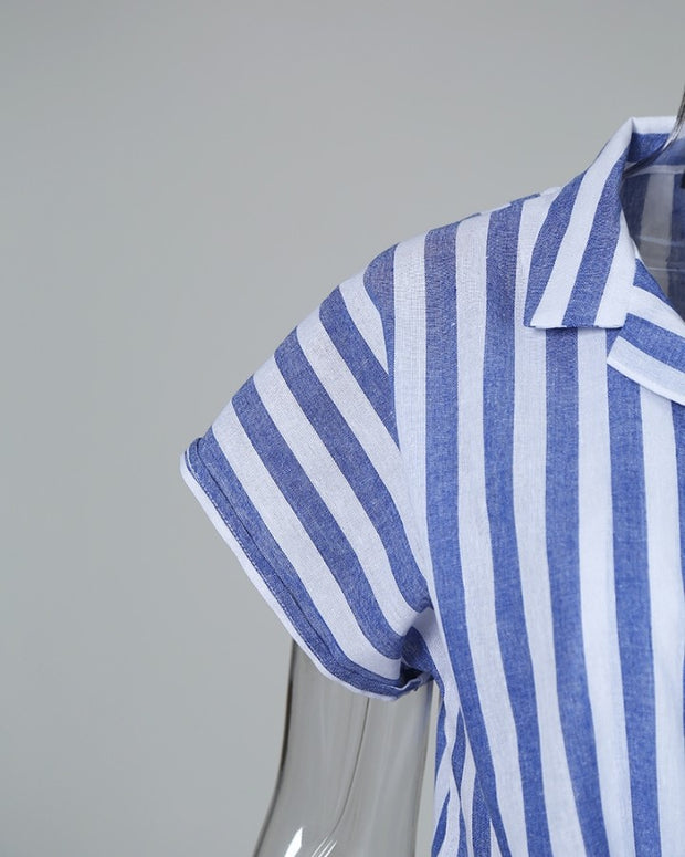 Striped Short Sleeve Knotted Casual Blouse