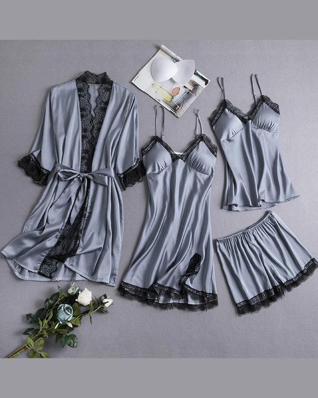 Eyelash lace Robe & Cami Set