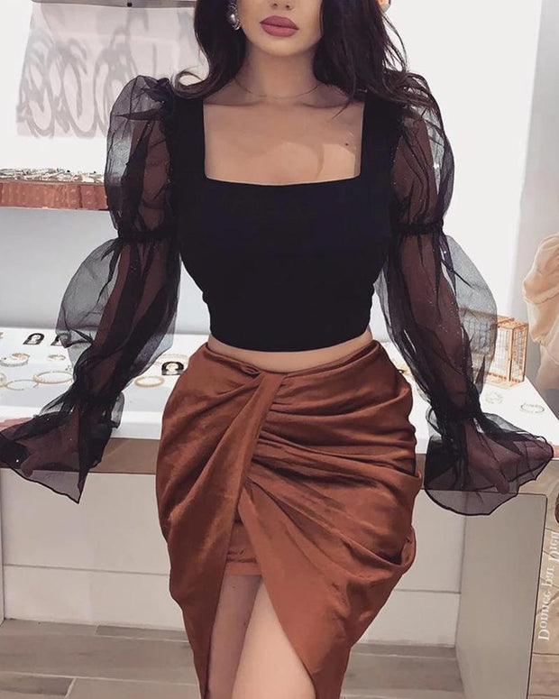 Square Neck Mesh Sleeve Crop Top