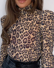 High Neck Puff Sleeve Leopard Print Blouse