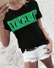 Short Sleeve Letter Print Top