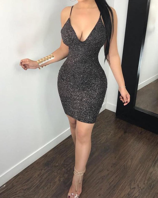 Glittering Low Cut Caged Back Bodycon Dress