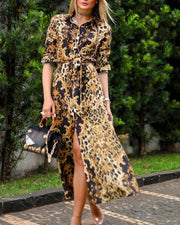 Front Slit Leopard Midi Dress