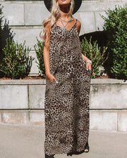 Leopard Print Casual Maxi Dress