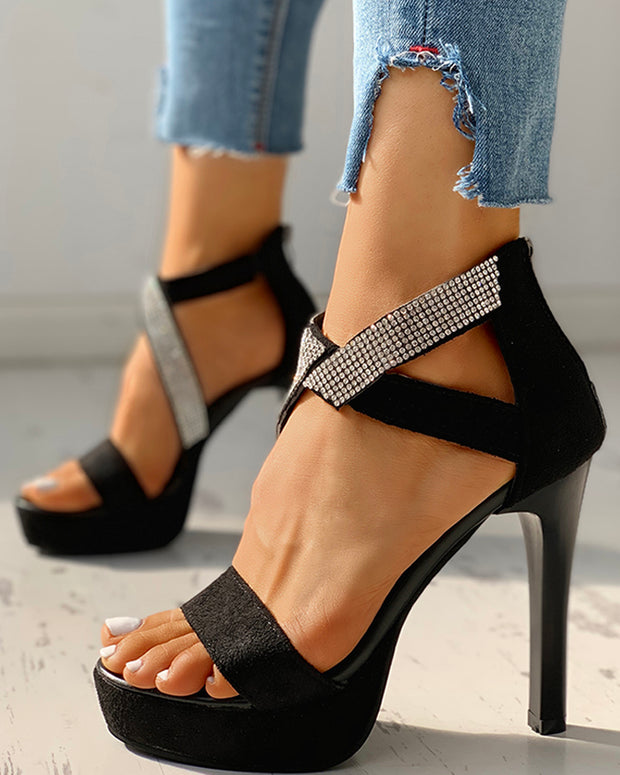 Open Top Strap Platform Thin Heeled Sandals