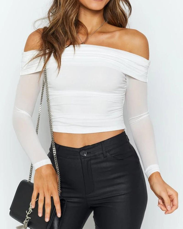 Solid Long Sleeve Splicing See-through Blouse