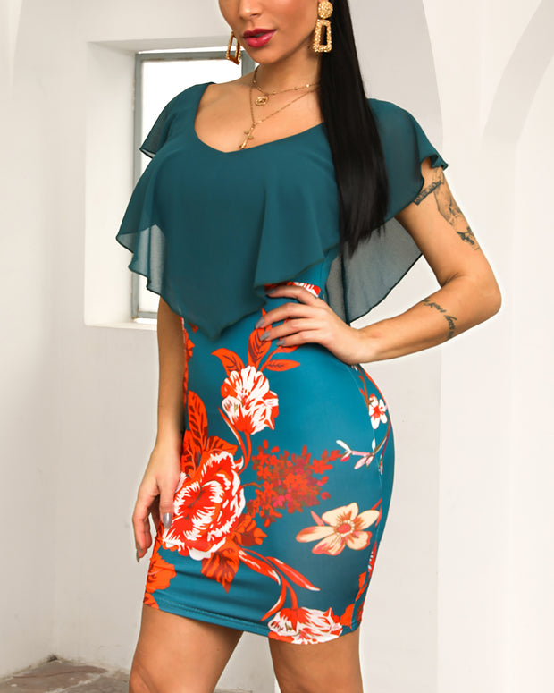 Floral Print Ruffles Design Bodycon Dress