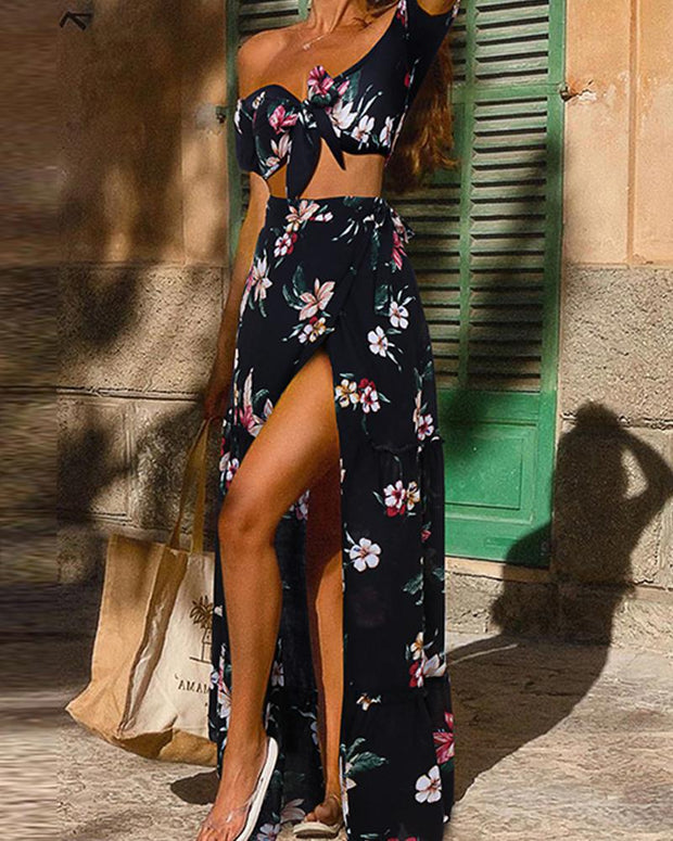Floral Print Crop Top & Wrap Skirt
