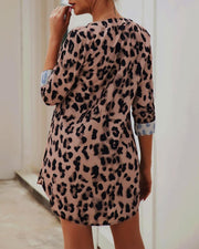 V-Neck Abstract Print Long Sleeve Dress