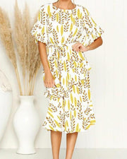 Leaf Print Casual Midi Dress