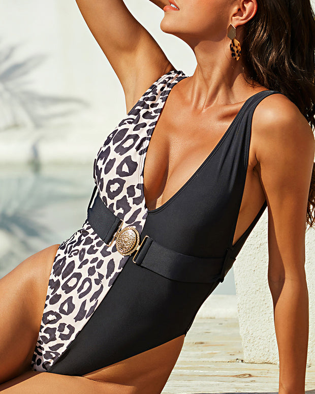 Sleeveless Leopard Print One-Piece Swimsuit