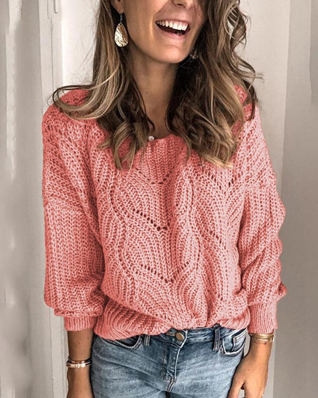 Solid Round Neck Weave Knit Sweater