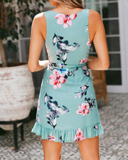 Floral Ruffled Overlap Tie Waist Casual Dress