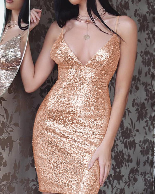 Deep V Sleeveless Bodycon Sequin Dress
