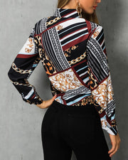 Mixed Chain Print Knot Front Blouse