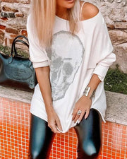 Skull Print Long Sleeve Loose Blouse