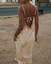 Solid Color Backless Long Dress