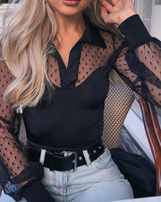 Dot Sheer Mesh Yoke Casual Blouse
