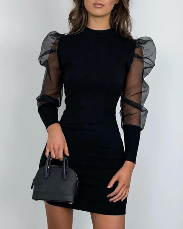 Solid Mock Neck Puff Sleeve Mesh Insert Bodycon Dress