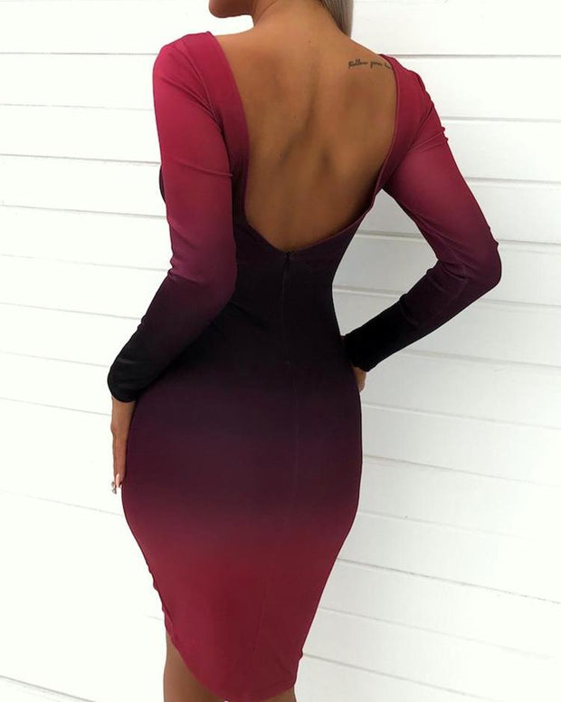 Gradient Color Open Back Bodycon Dress