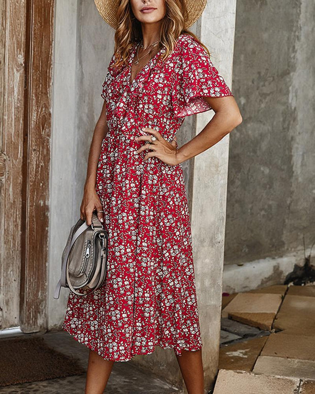 Boho Short Sleeve Midi Dress