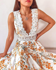Deep Plunge Lace Trim Maxi Dress