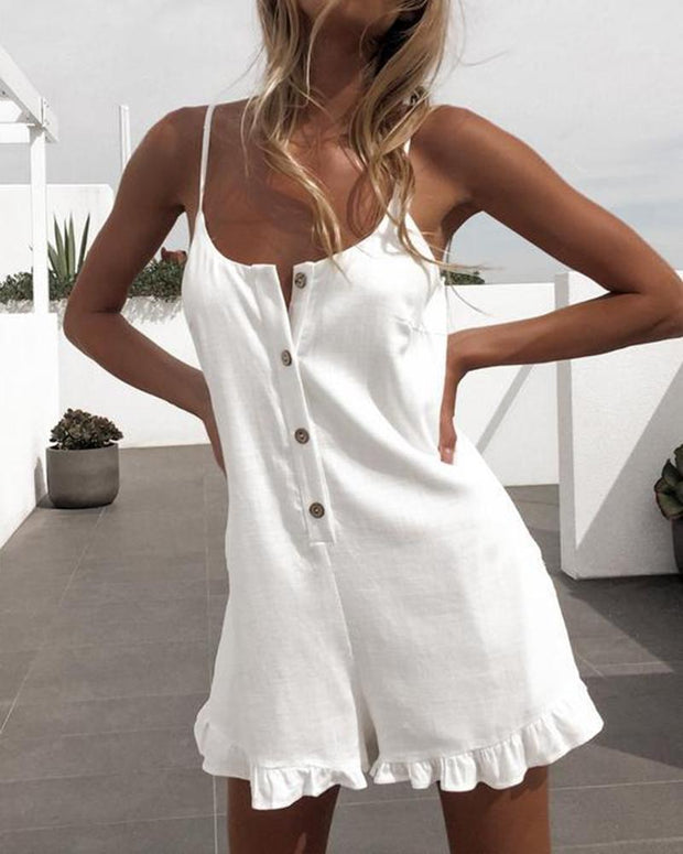 Button Front Cami Romper