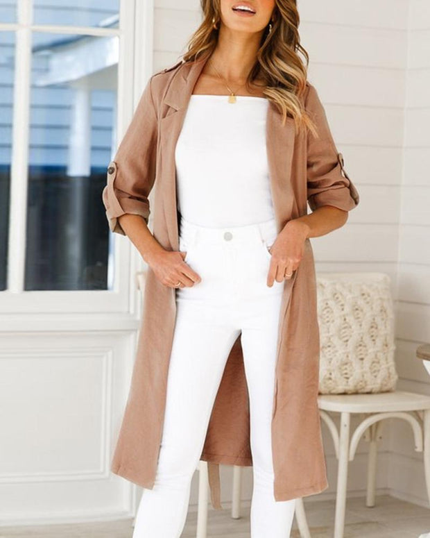 Solid Long Sleeve Casual Longline Wind Coat