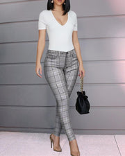 Grid High Waist Casual Pant