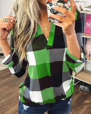 Grid Print V-Neck Casual Blouse