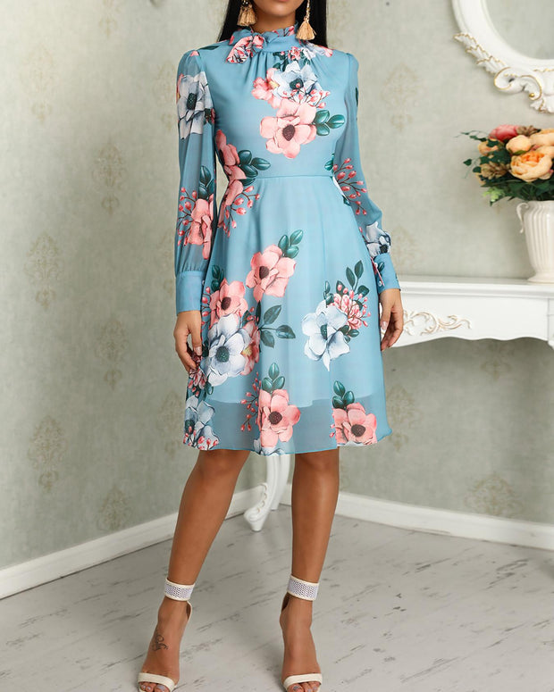 Floral Print Long Sleeve Tied Neck Dress