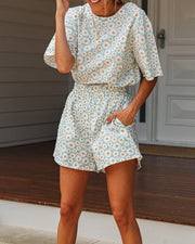 Floral Print Top & Shorts Set