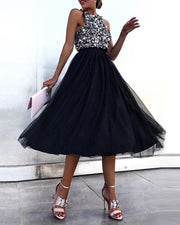 Sleeveless Sequins Colorblock Mesh Insert Ruffles Ruched Dress