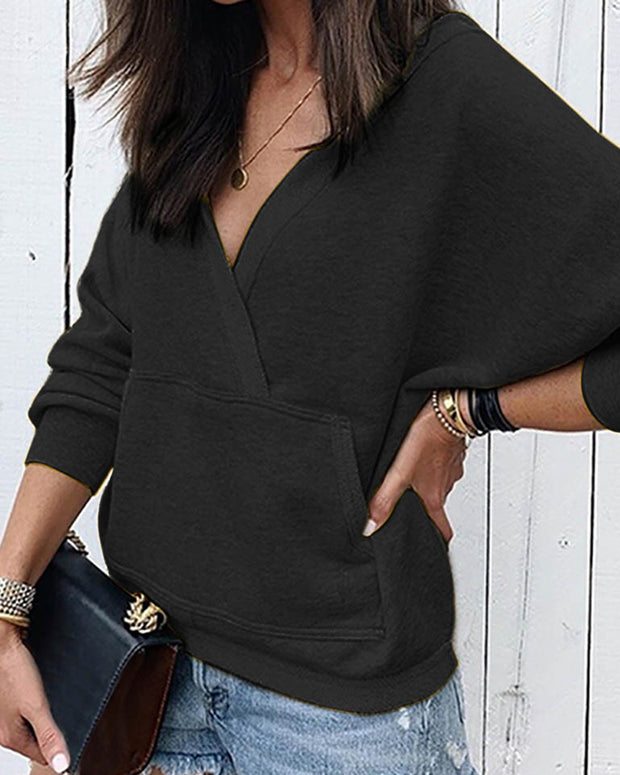 Solid V-Neck Long Sleeve Pocket Casual Sweatshirt