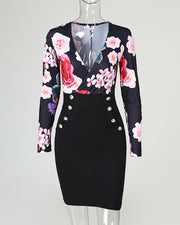 Plunge Floral Print Buttoned Dress
