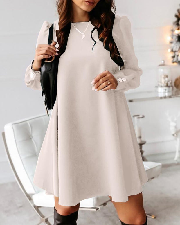 Solid Button Design Casual Mini Dress