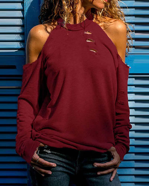 Cold Shoulder Ribbed Cutout Casual Top