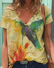 Graphic Painting Short Sleeve Loose T-shirts