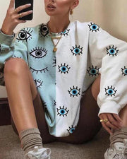 Eyes Print Loose Sleeve Loose Sweatshirts